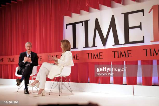 Apple CEO Tim Cook speaks with former TIME managing editor Nancy Gibbs at the TIME 100 Summit on April 23, 2019 in New York City. The day-long TIME...