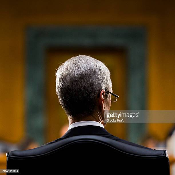 Apple CEO Tim Cook testifies at a Senate homeland security and governmental affairs investigations subcommittee hearing on offshore profit shifting...