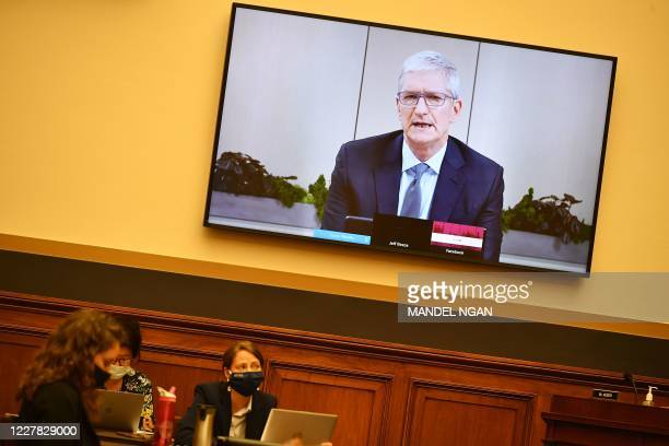 Apple CEO Tim Cook testifies before the House Judiciary Subcommittee on Antitrust Commercial and Administrative Law on Online Platforms and Market...