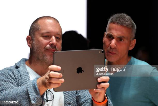 Apple chief design officer Jony Ive uses an iPad to have an augmented reality view of the frame of the new Mac Pro as Apple senior VP of hardware...