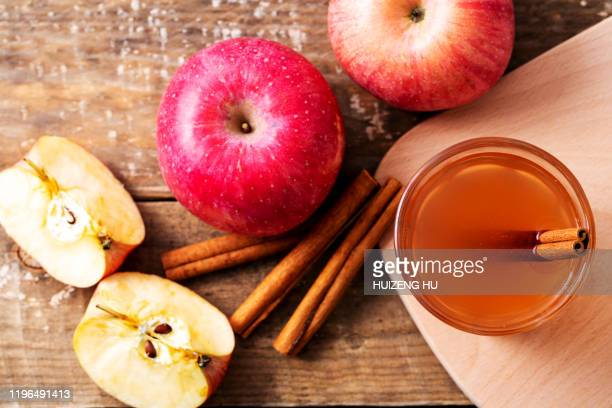 apple cinnamon tea, top view - cider stock pictures, royalty-free photos & images