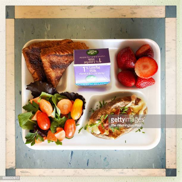 Apple cinnamon toast baked potato bar with queso blanco sauce and turkey bacon fresh strawberries mixed salad from the salad bar at LylesCrouch...