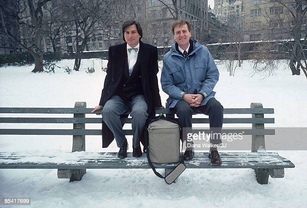 Apple Computer founder Steve Jobs & CEO and chairman John Sculley posing in Centraly Park in New York City in 1984. Between them is Apples' new...
