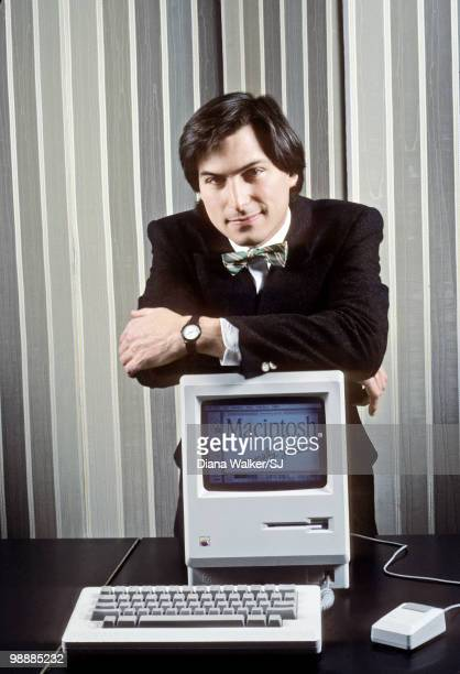 Apple Computer founder Steve Jobs with a Macintosh computer in New York City in 1984