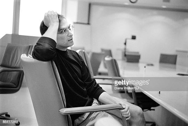 Apple Computer head Steve Jobs during an interview with Time Magazine at Apple Headquarters in Cupertino CA on August 4 1997
