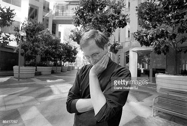 Apple Computer head Steve Jobs outside of Apple HQ a day before heading to Boston for MacWorld Expo to announce Apple's alliance w Microsoft In...
