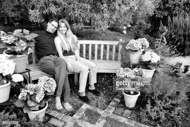 Apple Computer head Steve Jobs wife Laurene Powell in relax in their garden in Palo Alto CA on August 4 1997