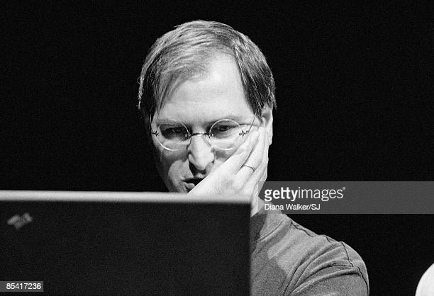 Apple Computer's CEO Steve Jobs during the MacWorld Expo in Boston MA August 8 1997