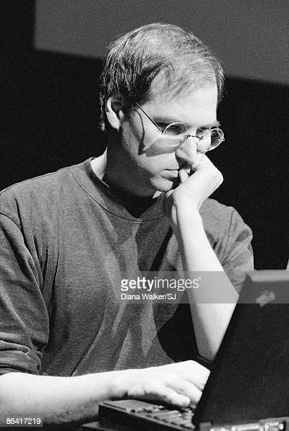 Apple Computer's CEO Steve Jobs rehearsing for his presentation the next day at MacWorld Expo in Boston MA August 5 1997