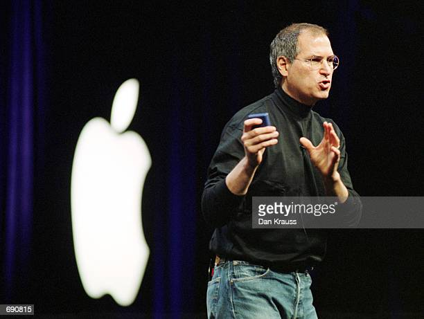 Apple Computers Inc CEO Steve Jobs delivers the keynote address at Macworld January 7 2002 in San Francisco CA Jobs introduced new products including...