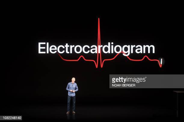 Apple COO Jeff Williams discusses Apple Watch Series 4 during an event on September 12 in Cupertino California the watch lets users take ECG readings...
