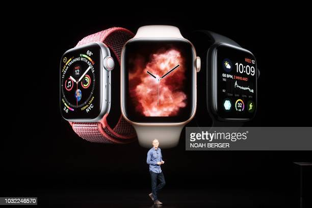 Apple COO Jeff Williams discusses Apple Watch Series 4 during an event on September 12 in Cupertino California New iPhones set to be unveiled...