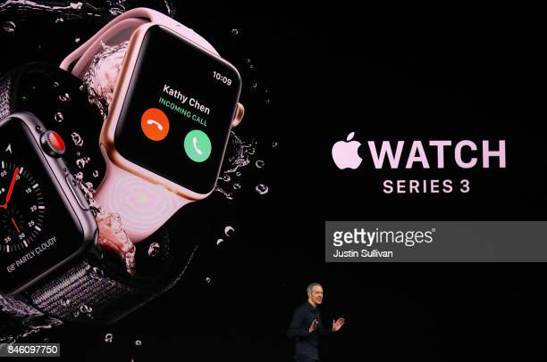 Apple COO Jeff Williams speaks during an Apple special event at the Steve Jobs Theatre on the Apple Park campus on September 12 2017 in Cupertino...
