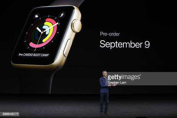 Apple COO Jeff Williams speaks on stage during a launch event on September 7 2016 in San Francisco California Apple Inc unveiled the latest...