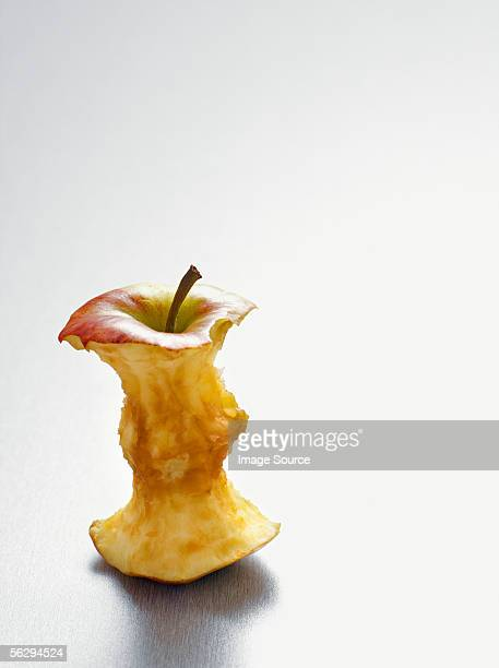 Apple core on a table
