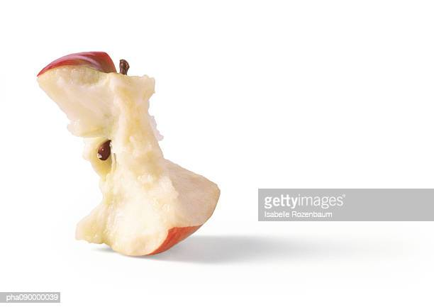Apple core, white background