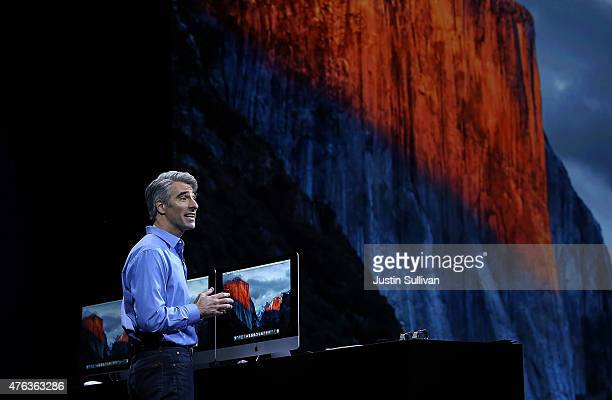 Apple Craig Federighi Apple senior vice president of Software Engineering speaks about OS 10 El Capitan during Apple WWDC on June 8 2015 in San...