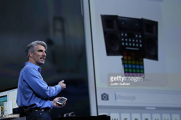 Apple Craig Federighi Apple senior vice president of Software Engineering speaks about iOS 9 during Apple WWDC on June 8 2015 in San Francisco...
