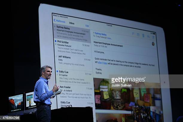 Apple Craig Federighi Apple senior vice president of Software Engineering speaks about the iPad during Apple WWDC on June 8 2015 in San Francisco...
