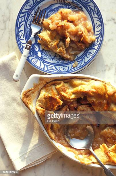 Apple crisp in serving dish and plate