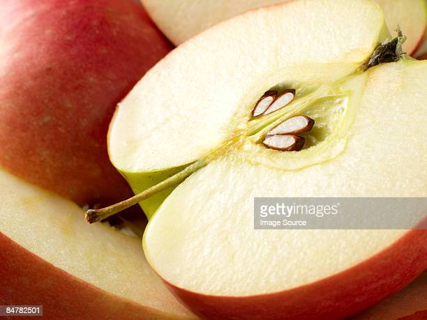 apple cut in half - juicy stock pictures, royalty-free photos & images