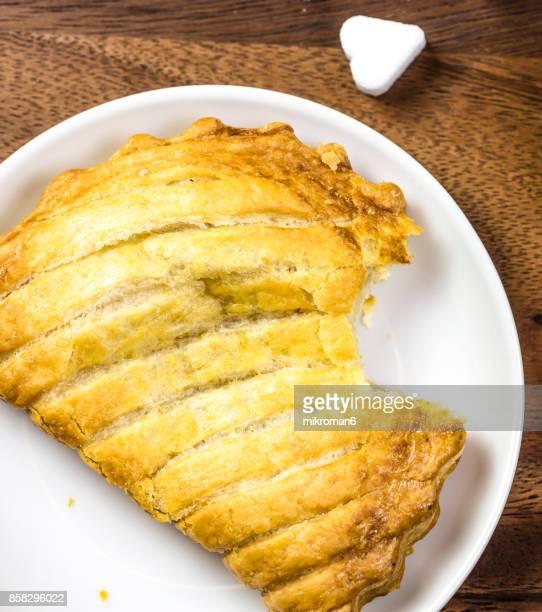 Apple danish pastry and Heart Shape Sugar Cubes. Sweet dessert