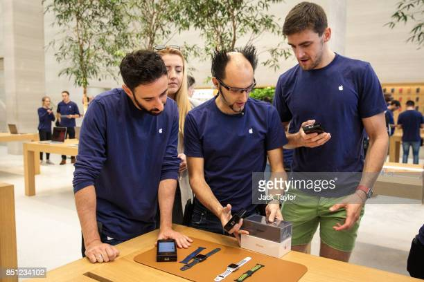 Apple employees process orders at Apple Regent Street during the launch of the iPhone 8 on September 22 2017 in London England Apple have today...