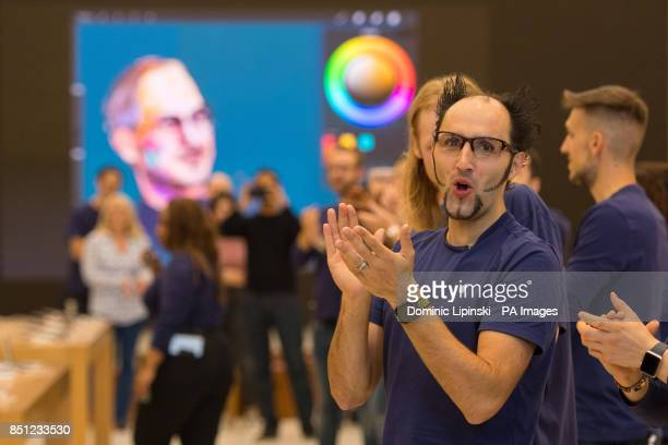 Apple employees welcome customers to the Apple Store on Regent Street London as the iPhone 8 and iPhone 8 Plus go onsale in the UK