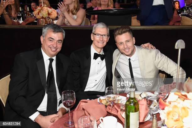 Apple executive Eddy Cue Apple CEO Tim Cook and recording artist Ryan Tedder attend PreGRAMMY Gala and Salute to Industry Icons Honoring Debra Lee at...