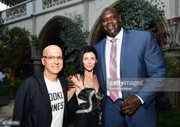 Apple executive Jimmy lovine model Liberty Ross and former NBA player Shaquille O'Neal at Apple Music Launch Party Carpool Karaoke The Series with...