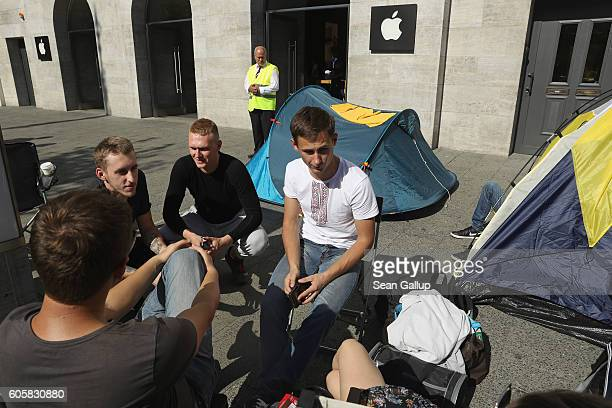 Apple fans from eastern Europe camp out in front of the Berlin Apple store ahead of tomorrow's sales launch of the new Apple iPhone 7 on September 15...