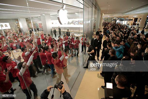 Apple fans waited for the opening of first Apple Store at Joy City on February 7 2015 in Tianjin China Tianjin opens its first Apple Store in...