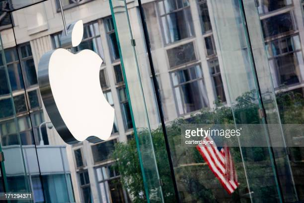 Apple Flagship Store and Logo, New York City