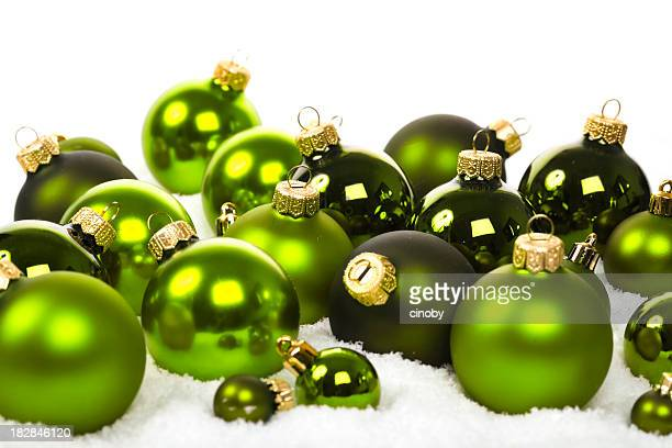 Apple Green Baubles in Snow