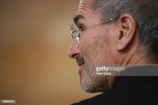 Apple head Steve Jobs speaks arrives at a press conference to announce that T-Mobile will be the partner for selling the iPhone in Germany September...