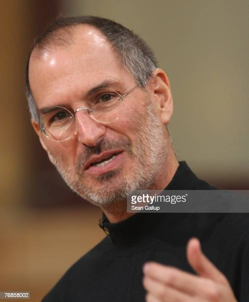 Apple head Steve Jobs speaks at a press conference to announce that T-Mobile will be the partner for selling the iPhone in Germany September 19, 2007...