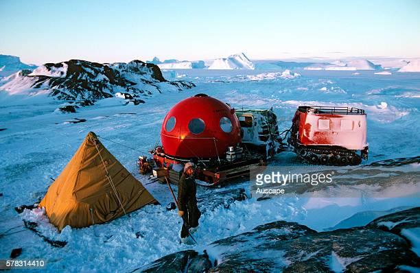 Apple hut and polar pyramid tent at ANARE field camp Near Mawson Station Australian Antarctic Territory