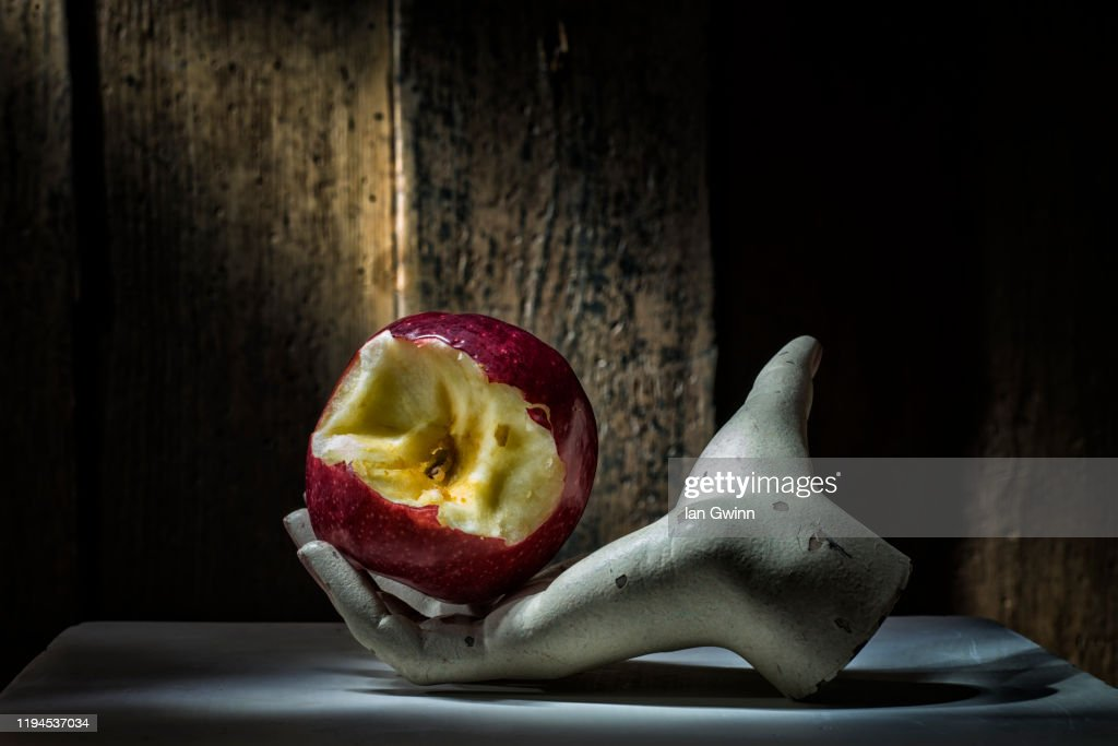 Apple in Mannequin Hand : Stock Photo