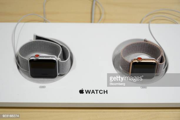 Apple Inc Apple Watch series 3 devices are displayed at a SoftBank Group Corp store in Tokyo Japan on Thursday Feb 22 2018 Billionaire...