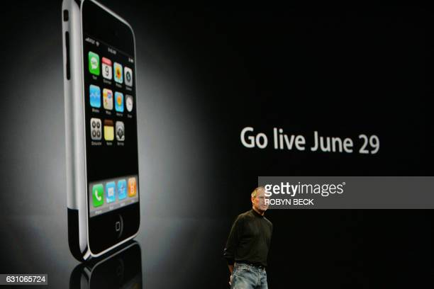 Apple Inc CEO Steve Jobs discusses the iPhone during his keynote address on the opening day of the Apple Worldwide Developers Conference 2007 at the...
