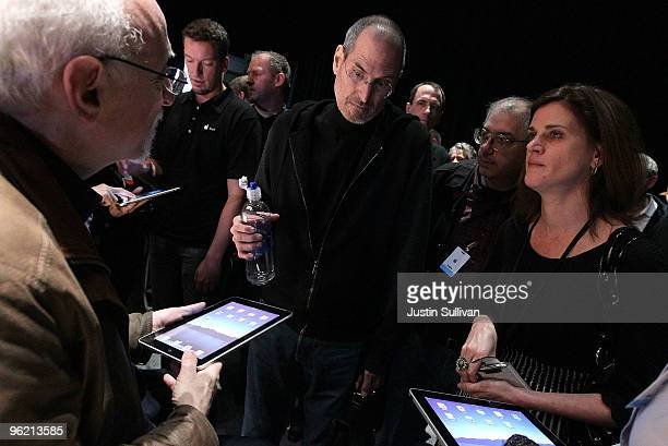 Apple Inc CEO Steve Jobs speaks with Technology Columnist Walt Mossberg of the Wall Street Journal during an Apple Special Event at Yerba Buena...