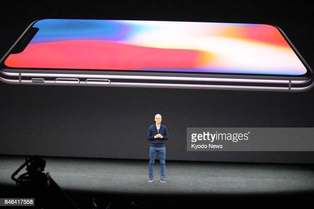 Apple Inc CEO Tim Cook introduces the company's new iPhone X smartphone in Cupertino California on Sept 12 2017 ==Kyodo