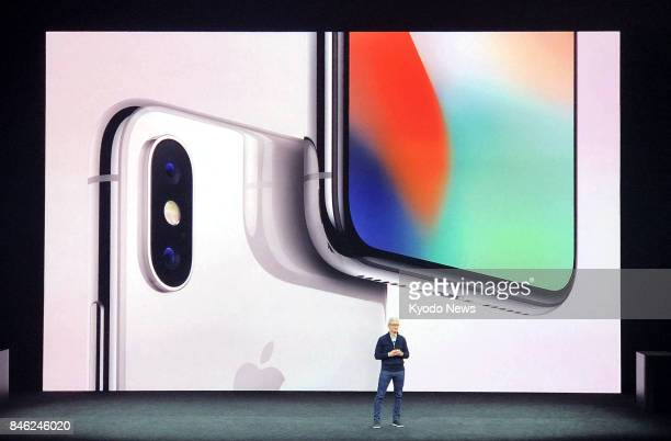 Apple Inc CEO Tim Cook introduces the iPhone 8 iPhone 8 Plus and the new flagship iPhone X as the latest models in its hugely popular smartphone line...