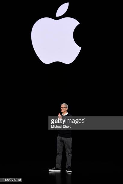 Apple Inc. CEO Tim Cook speaks during a company product launch event at the Steve Jobs Theater at Apple Park on March 25, 2019 in Cupertino,...