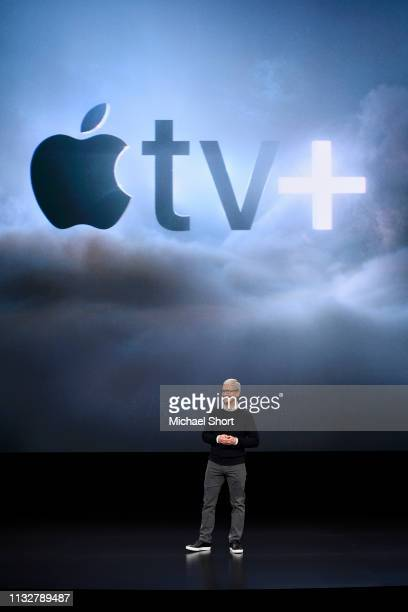 Apple Inc CEO Tim Cook speaks during a company product launch event at the Steve Jobs Theater at Apple Park on March 25 2019 in Cupertino California...