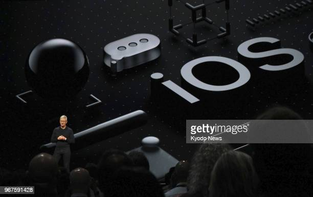 Apple Inc CEO Tim Cook speaks during a keynote presentation at the company's Worldwide Developers Conference in San Jose California on June 4 2018...