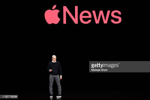 Apple Inc CEO Tim Cook speaks during an Apple product launch event at the Steve Jobs Theater at Apple Park on March 25 2019 in Cupertino California...
