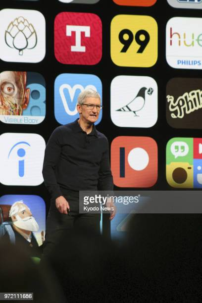 Apple Inc CEO Tim Cook speaks during the company's Worldwide Developers Conference in San Jose California on June 4 2018 ==Kyodo