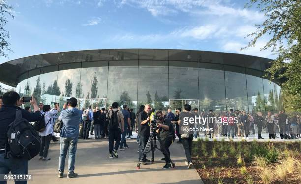 Apple Inc holds a launch event for its new iPhone models at the new Steve Jobs Theater named after the late CEO and company cofounder in Cupertino...