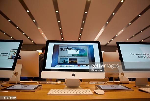 Apple Inc iMac computers are seen on display at the new Apple Inc store located on Kurfurstendamm Street in Berlin Germany on Friday May 3 2013 Apple...